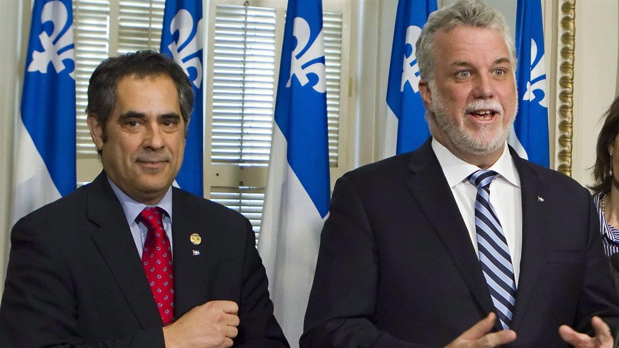 Le premier ministre Philippe Couillard et Gilles Ouimet