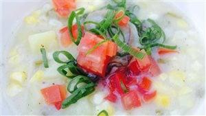 Chaudrée d'huîtres à l'oignon vert