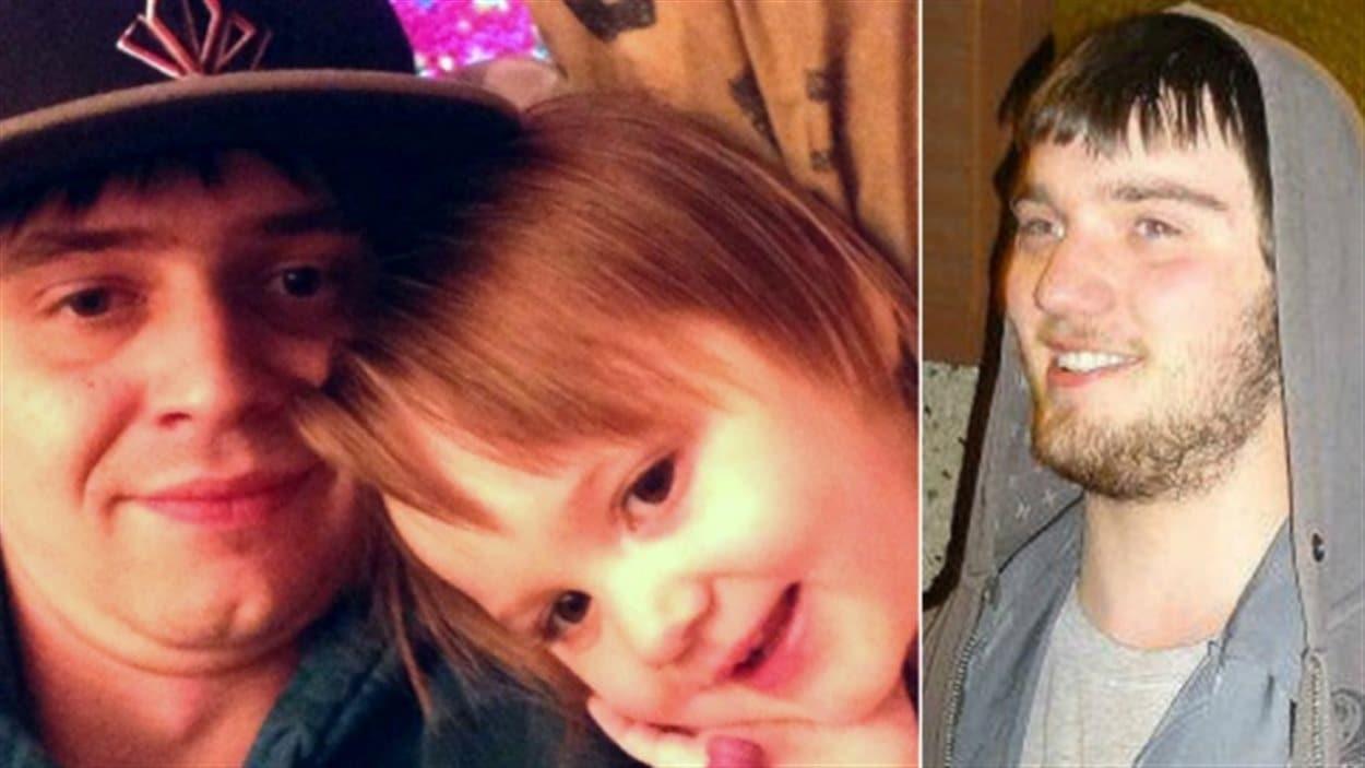 De la gauche vers la droite : Terry Blanchette, sa fille Hailey Dunbar-Blanchette et leur présumé meurtrier, Derek Saretzky.