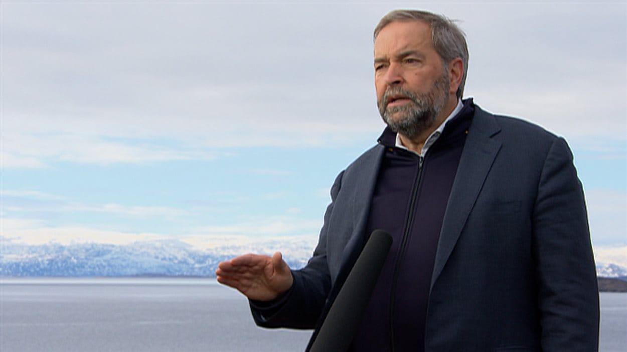 Le chef du Nouveau Parti démocratique, Thomas Mulcair, était à Iqaluit, au Nunavut, pour présenter de nouveaux engagements en matière de lutte contre les changements climatiques.