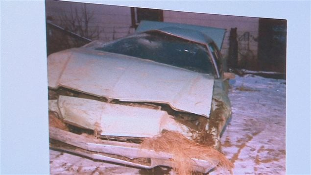 La voiture dans laquelle Dany Martel se trouvait lors de l'accident qui lui a coûté l'usage de ses bras et de ses jambes
