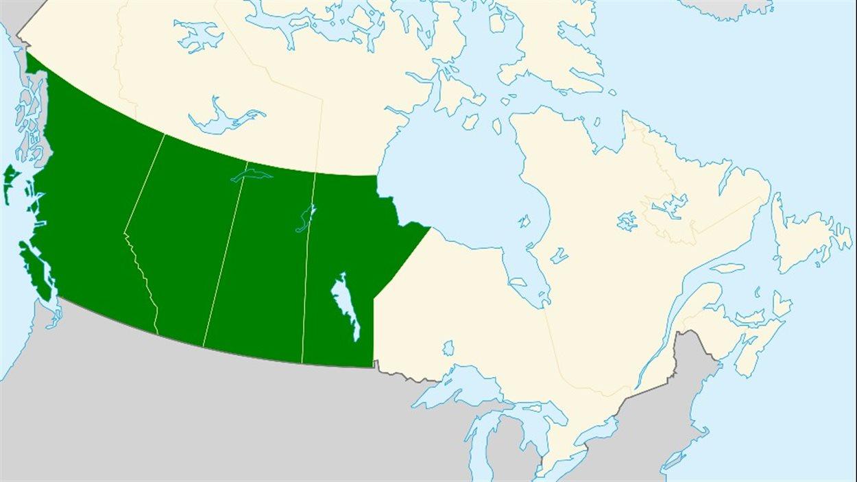 Une carte indiquant la Colombie-Britannique, l'Alberta, la Saskatchewan et le Manitoba: les provinces qui réclament l'indépendance dans un nouveau groupe Facebook.