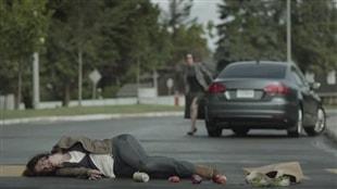 Une des images de la campagne choc de la SAAQ contre le texto au volant à l'automne 2015