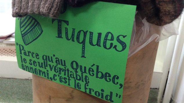 Le point de dépôt de tuques chez Pompon laine café à Trois-Rivières