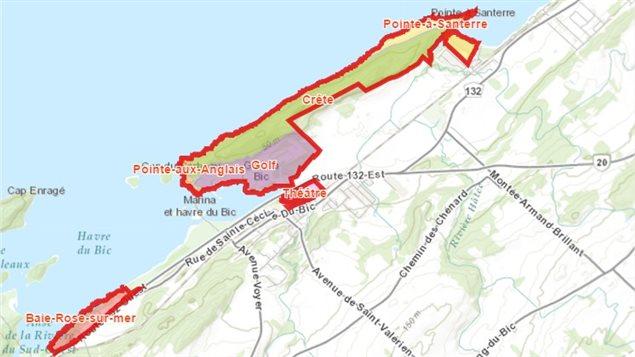L'emplacement de la zone patrimoniale du Havre du Bic