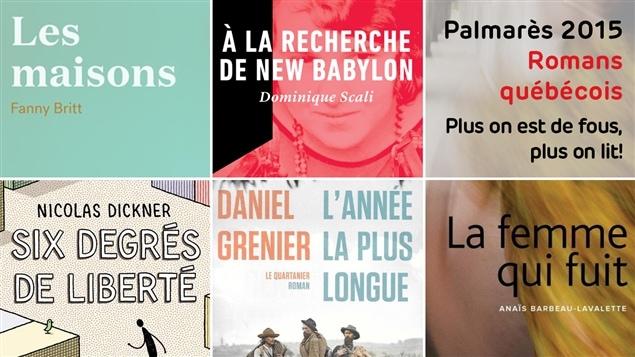 Les cinq couvertures des livres mentionnés au palmarès des romans de 2015, catégorie livres québécois.