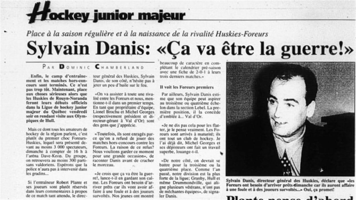 Un article du journal La Frontière paru au commencement de la première saison des Huskies (1996) faisait état de la naissance d'une rivalité