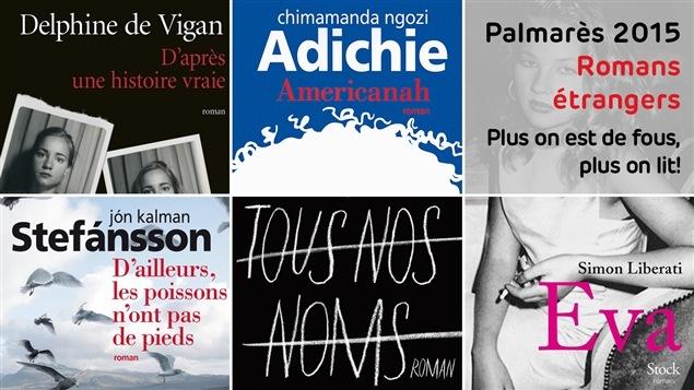 Les cinq couvertures des livres mentionnés au palmarès des romans de 2015, catégorie livres étrangers