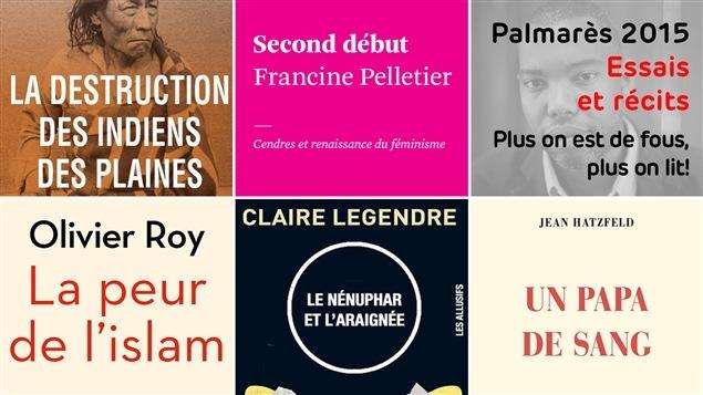 Les cinq couvertures des livres mentionnés au palmarès des romans de 2015, catégorie essais ou récits