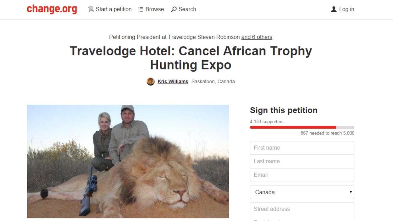 La pétition sur change.org pour annuler l'exposition à Saskatoon sur la chasse en Afrique