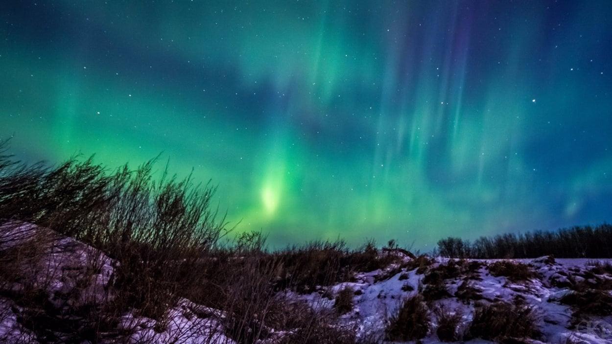 Blair Knox a pris cette photo d'un champ illuminé par les aurores