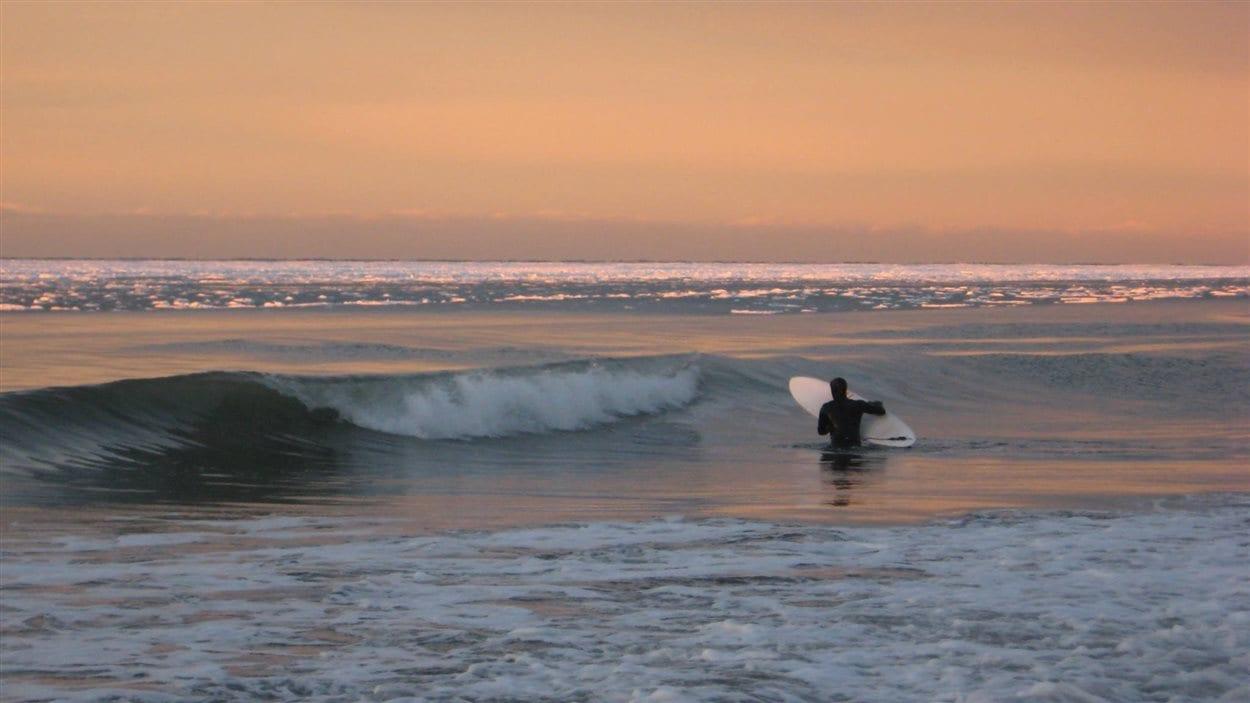 Un surfeur dans le fleuve Saint-Laurent à Sainte-Flavie le 5 janvier 2016.