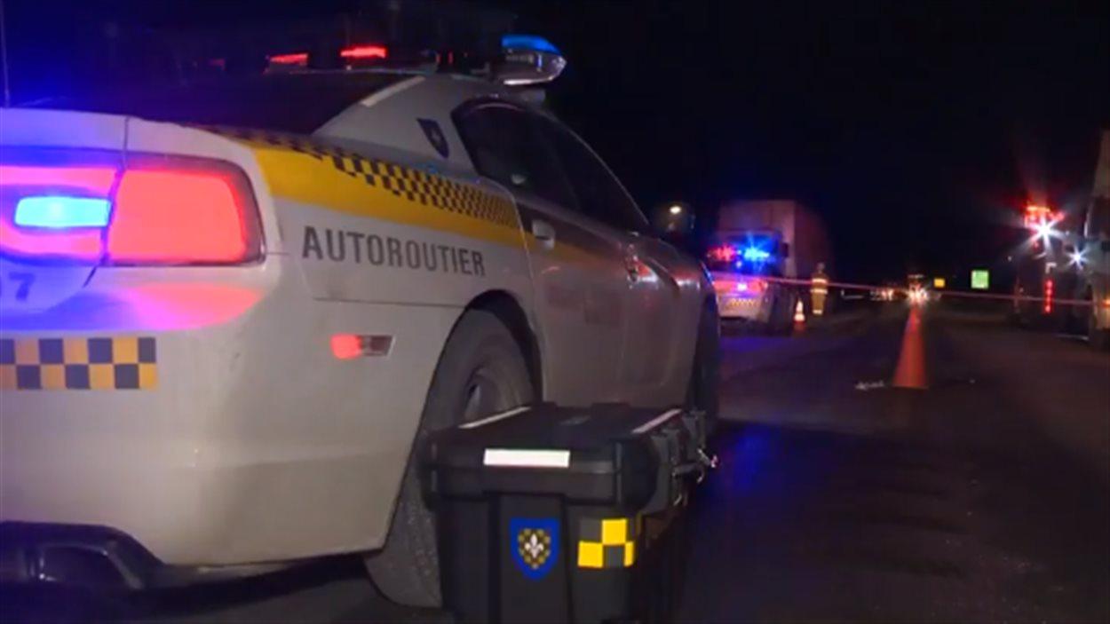 La scène de la collision mortelle à Cacouna le 20 janvier 2015