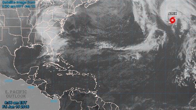 Image satellite de la tempête Alex, vendredi
