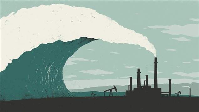 La fumée d'une usine crée une vague qui est sur le point d'angloutir cette même usine.