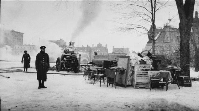 L'incendie au parlement en 1916