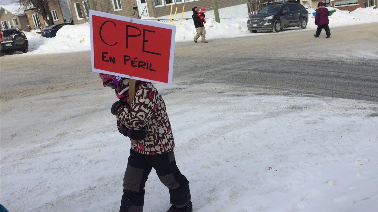 Manifestation contre les compressions dans les CPE, 7 février 2016 à Rouyn-Noranda