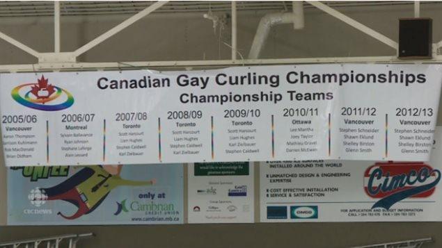 Une banderole montrent les gagnants des précédents championnats canadiens de curling gai, le 12 février 2016, à Winnipeg.