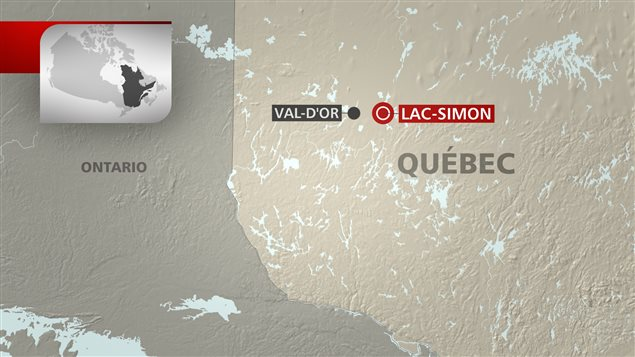 Une carte qui permet de situer la communauté autochtone de Lac-Simon, près de Val-d'Or, en Abitibi.