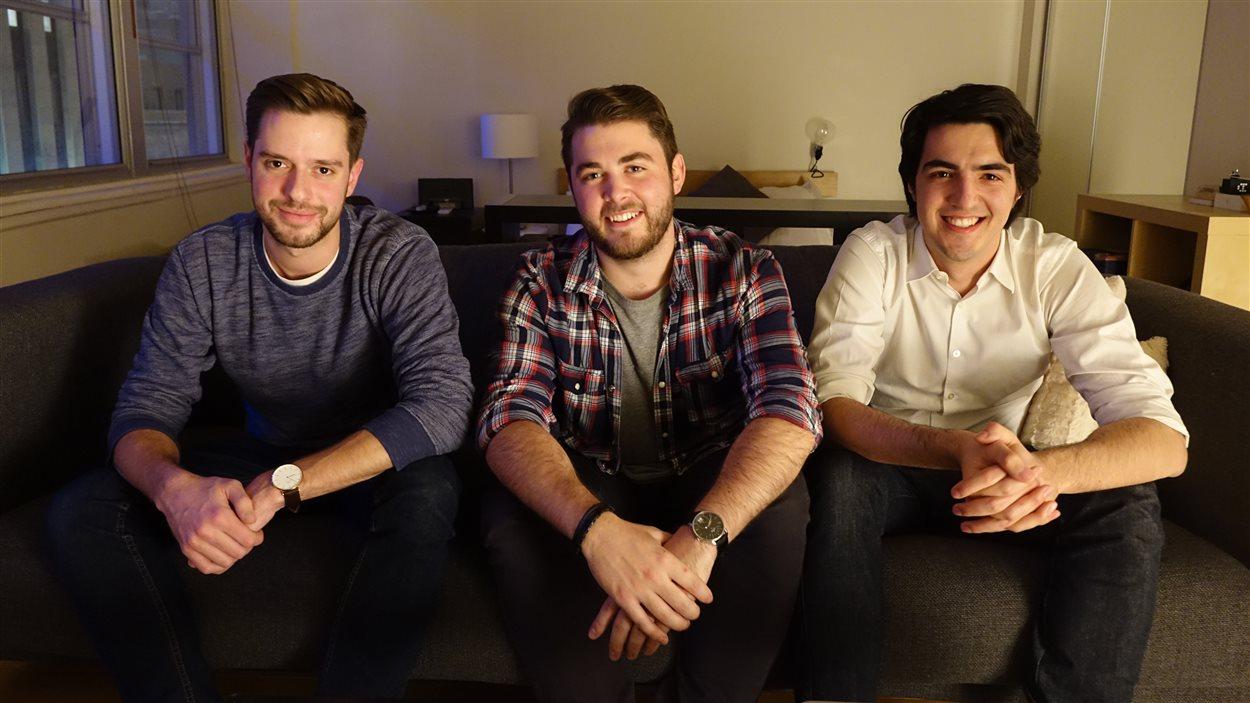 Julien Nepveu-Villeneuve, Jérémie Ste-Marie et Thomas Charest-Girard, de l'Association du jeune Montréal.