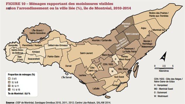 Carte des moisissures visibles dans les arrondissements de Montréal