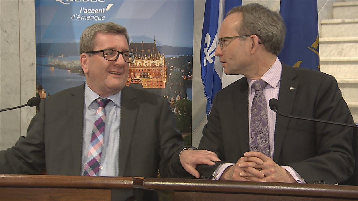 Régis Labeaume et Martin Coiteux