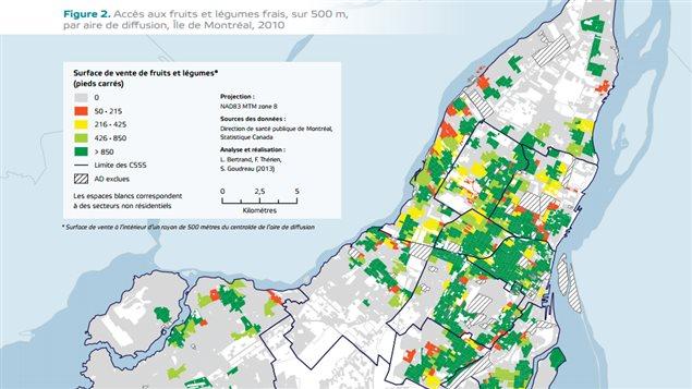Carte des surfaces de vente de fruits et légumes à Montréal