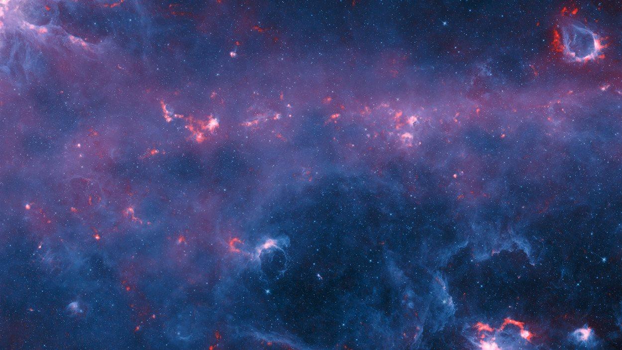 Une partie de la Voie lactée tel que cartographiée par le téléscope APEX dans le cadre du projet ATLASGAL