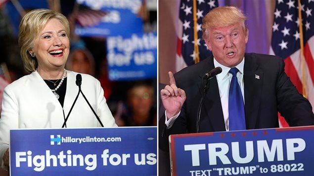 Les candidats aux primaires américaines Hillary Clinton et Donald Trump lors du super mardi, le 1er mars 2016