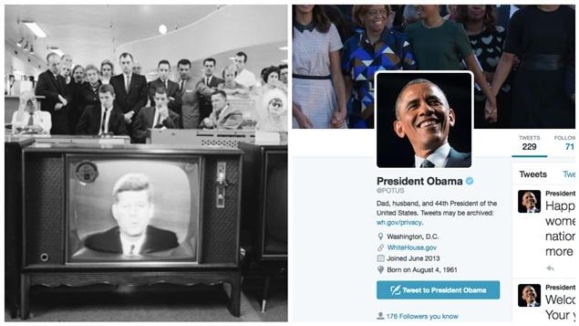 Le président Kennedy à la télé et le compte Twitter d'Obama.