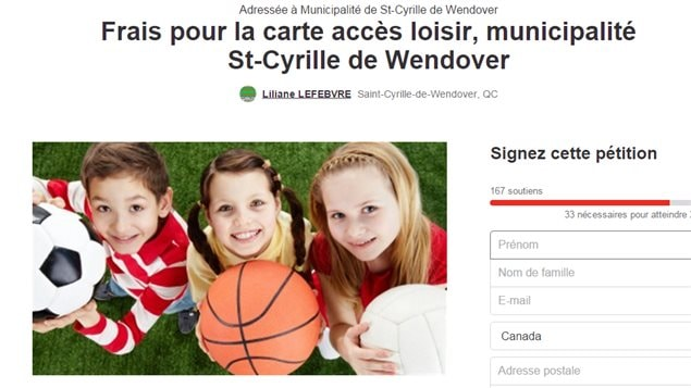 Une pétition contre les frais imposés aux familles de Saint-Cyrille-de-Wendover pour la carte Accès-Loisirs de Drummondville.