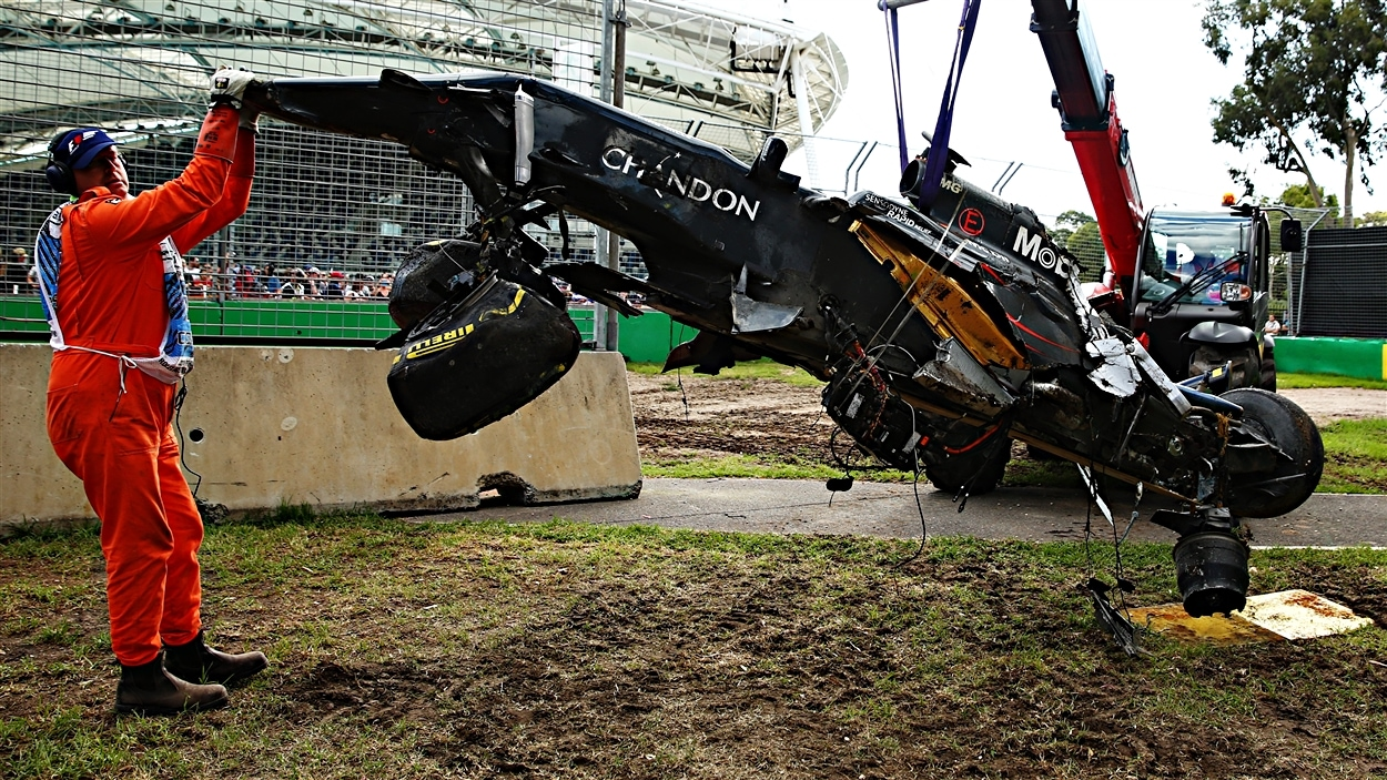 La McLaren accidentée de Fernando Alonso