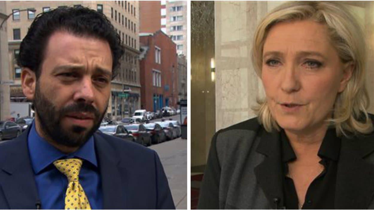 Haroun Bouazzi et Marine Le Pen