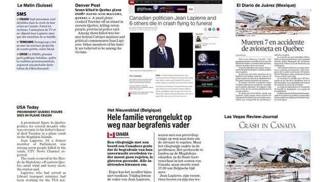 Exemples d'articles internationaux qui ont parlé de la mort de Jean Lapierre