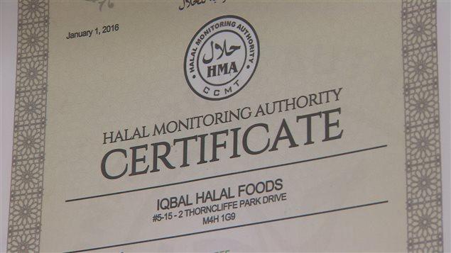 L'Agence canadienne d'inspection des aliments ne réglementera pas sur les organisations peuvent certifier qu'un produit est halal.