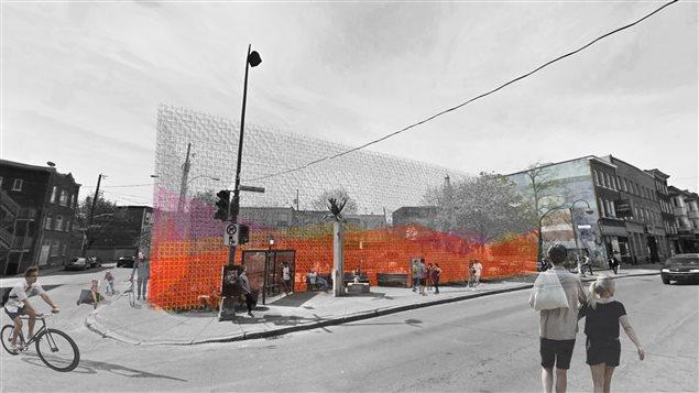 Symbolisant une «enveloppe atmosphérique», un mur comportant trois couches agira comme une frontière entre le trottoir et le SPOT.