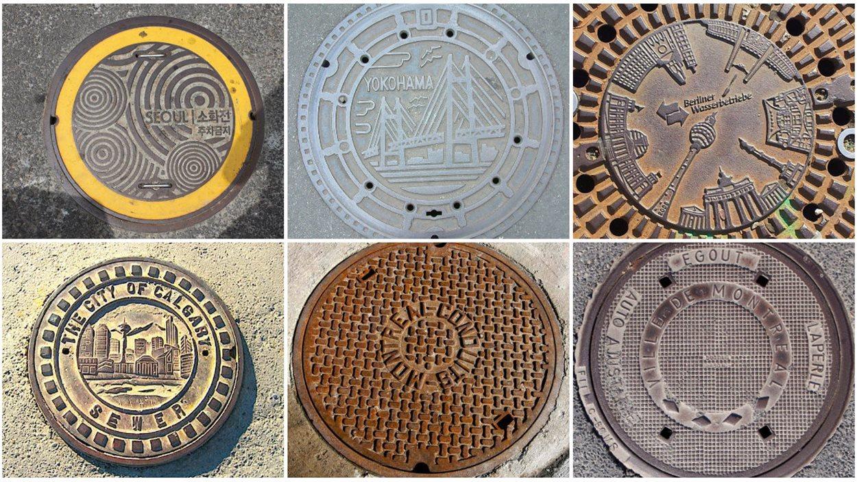 Des bouches d'égouts de Séoul, Yokohama, Berlin, Calgary et Montréal