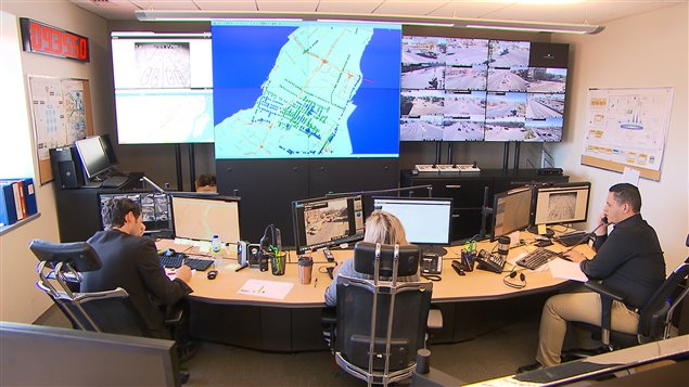 Radio-Canada a eu accès à la salle du Centre de gestion de la mobilité urbaine de la ville de Montréal