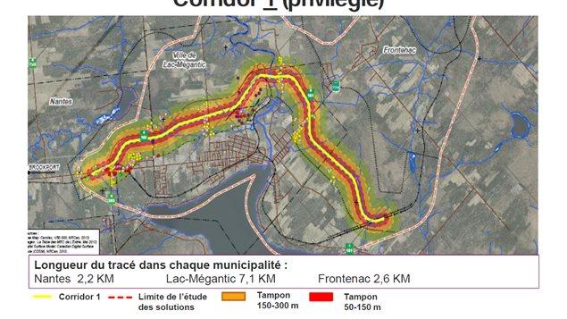 La carte du scénario privilégié par la Ville de Lac-Mégantic pour une voie de contournement ferroviaire