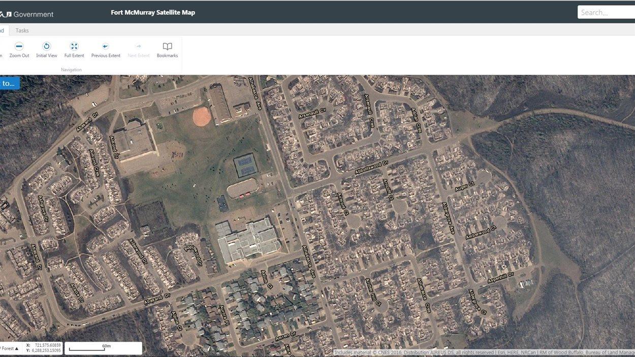 Aperçu de l'application mobile du gouvernement de l'Alberta destinée aux résidents de Fort McMurray