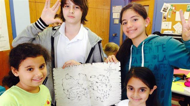 Photo 2A Quelques-uns des élèves qui ont illustré le recueil