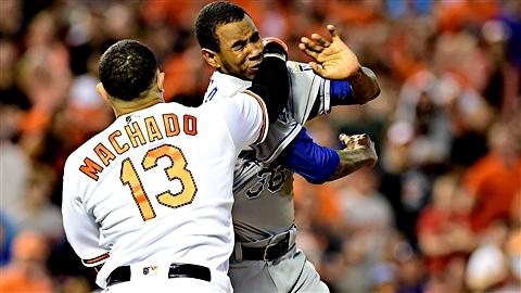 Manny Machado des Orioles et Yordano Ventura des Royals