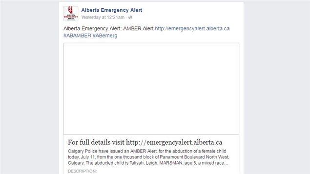 Message sur Facebook des autorités albertaines concernant une alerte Amber