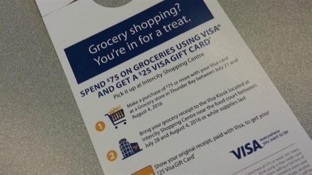 Visa tente de «récompenser» ses usagers en leur offrant notamment des mesures incitatives comme des cartes cadeaux pour des épiceries de la région.
