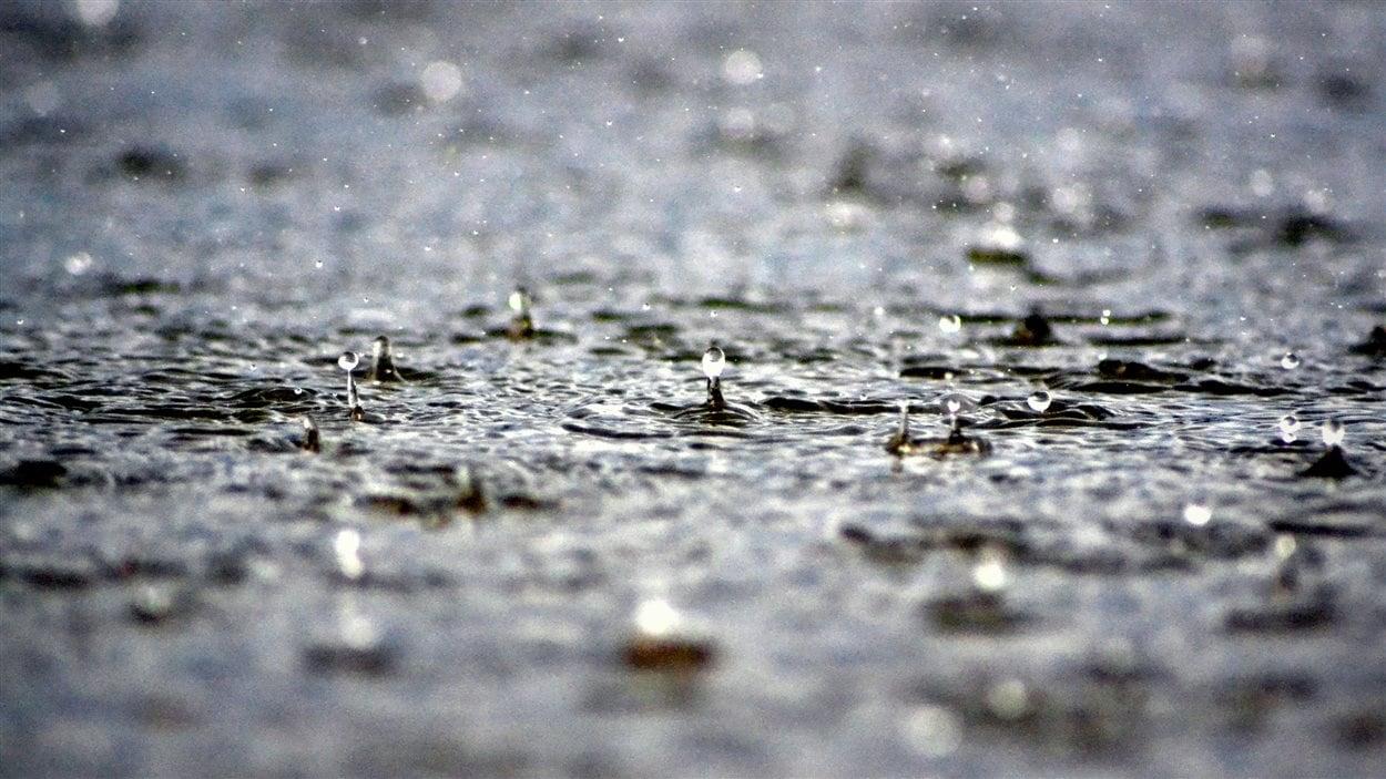 Des gouttes de pluie sur un sol trempé