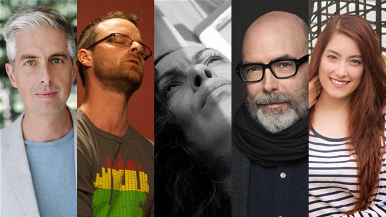 Les auteurs Yann Fortier, Philippe Garon, Bianca Joubert Hugo Léger et Cynthia Massé