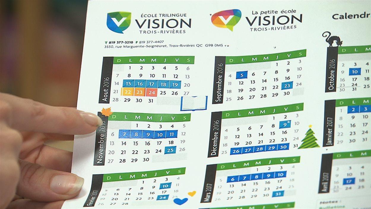 Calendrier scolaire de l'école Vision de Trois-Rivières.