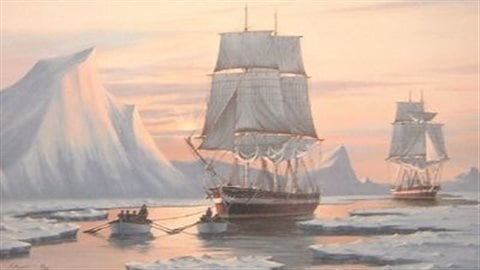 Painting by J Franklin Wright shows HMS Erebus and HMS Terror as they may have appeared in 1846