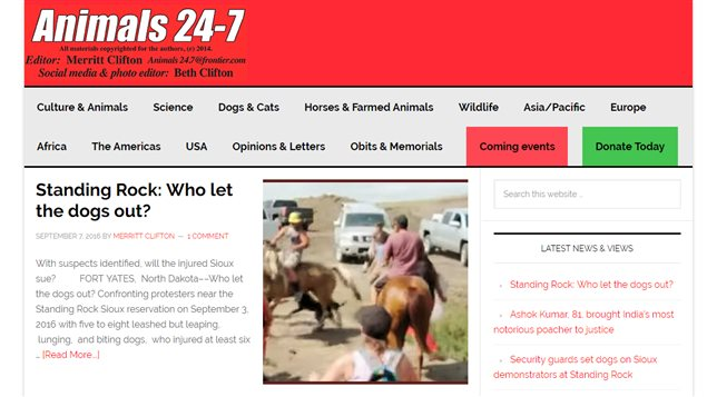Le site web Animals 24-7