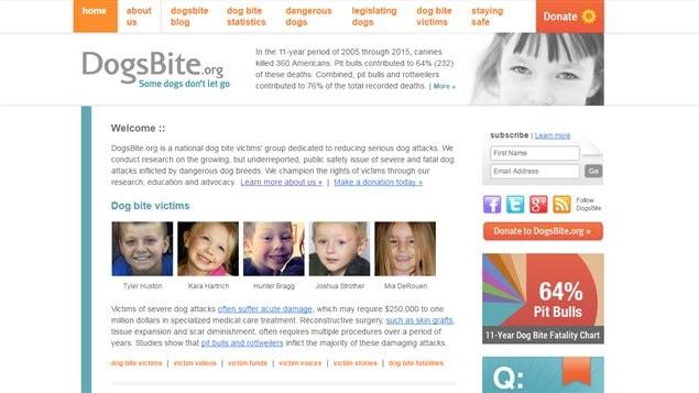 Le site web Dogsbite.org (capture d'écran)